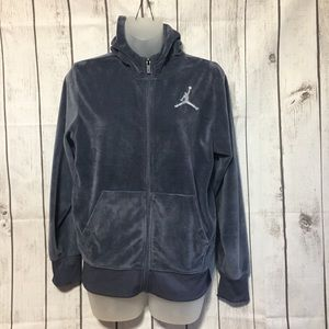 Jordan Gray Velour Hoodie Jacket Girls L 12-13 Yrs